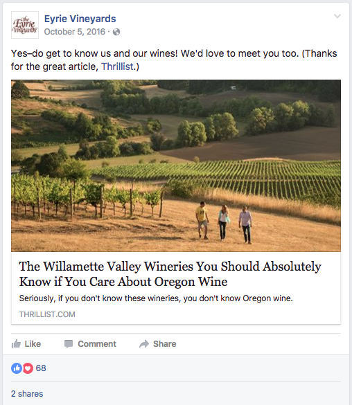 A screenshot of a successful Facebook post from Eyrie Vineyards