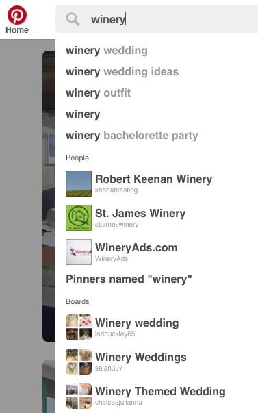 "Some search predictions when typing ""winery"" into Pinterest"