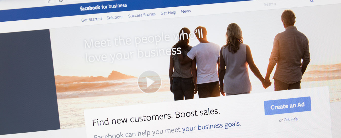 Screenshot of the Facebook For Business landing page