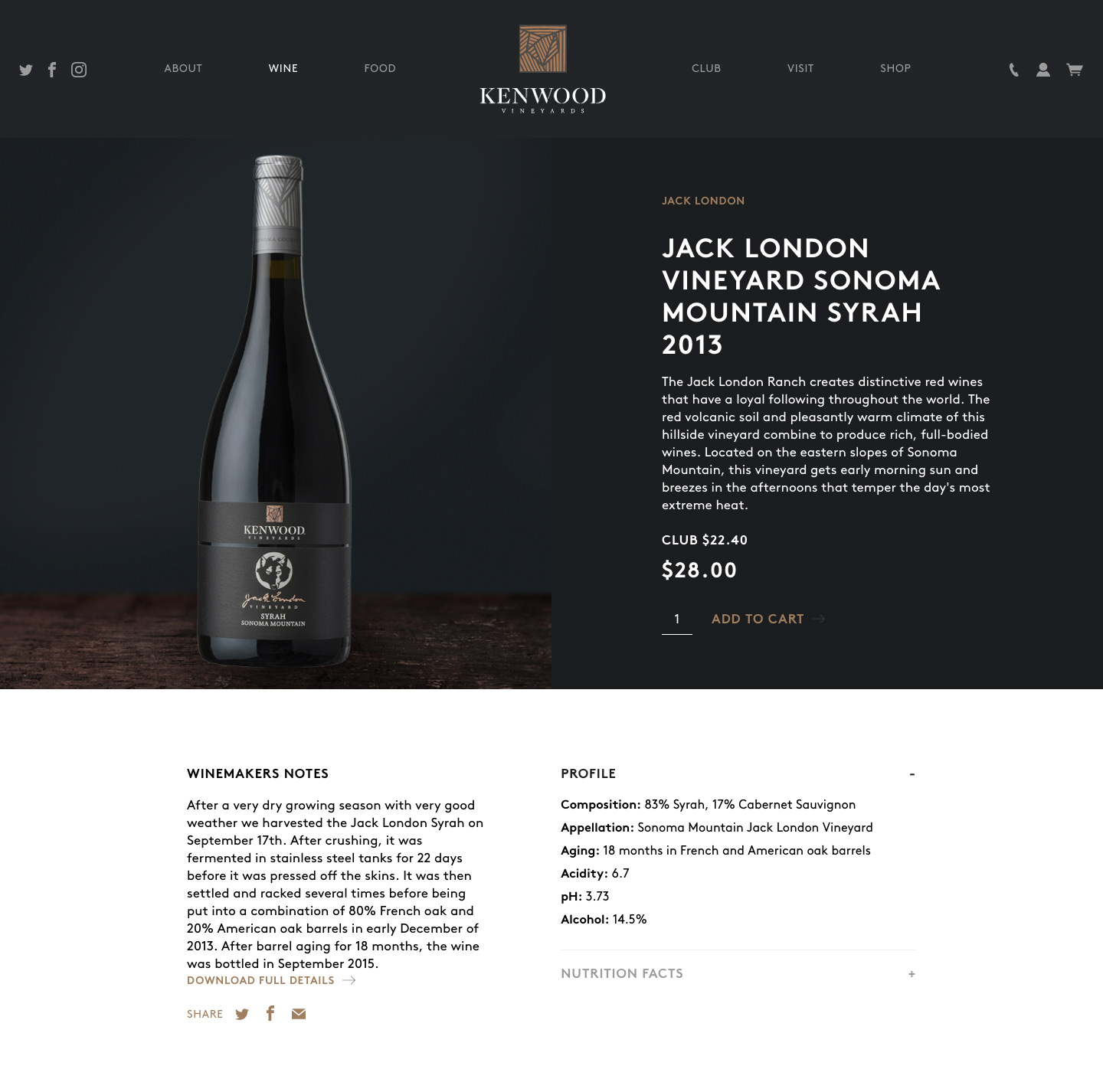 Syrah product page on Kenwood winery website
