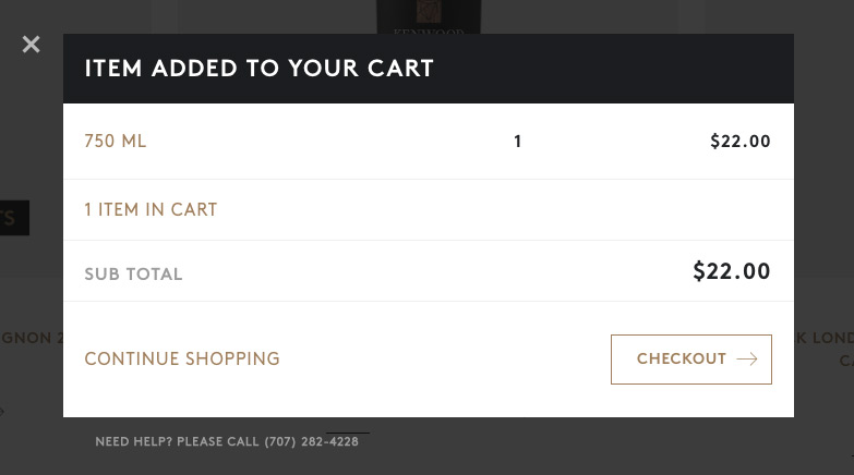 Shopping cart modal screenshot
