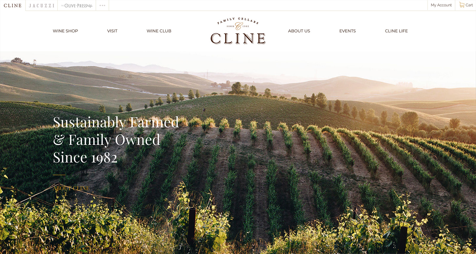 The home page for Cline Cellars