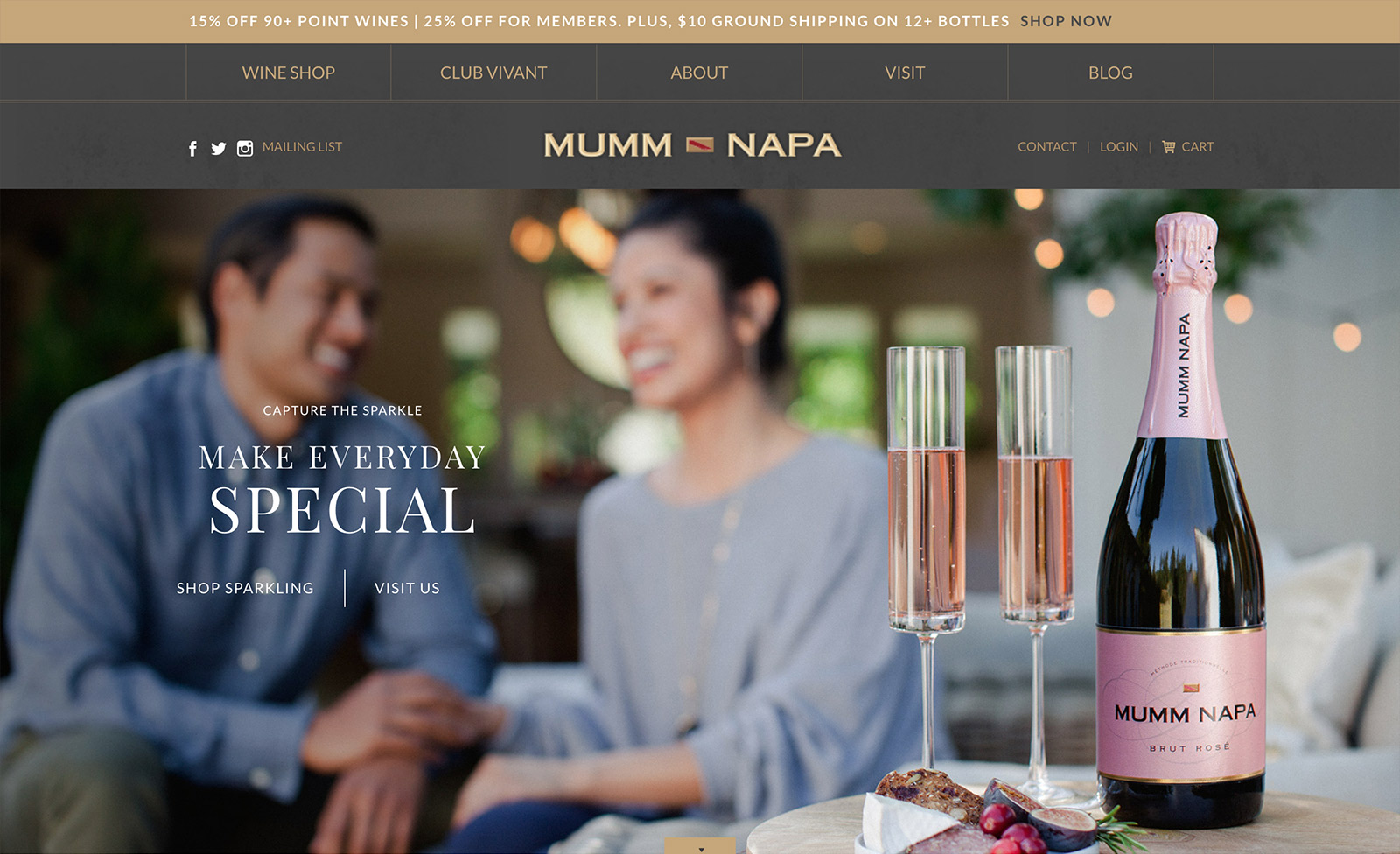 The website for Mumm Napa